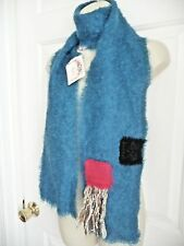 Papagena Paris Scarf NWT Blue Mohair Wool Made in France Artsy Details FuzzyWarm