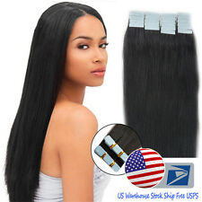 US Stock Tape In Skin Weft 16'' Black Real Remy Human Hair Extensions Straight