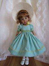 "Smocked Dress & Bonnet for 13"" Dolls Effner Little Darling Wiggs BJD-Gingham-SJ"