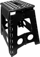 LARGE FOLDING STEP STOOL CHAIR SEAT HEAVY DUTY HOME KITCHEN GARAGE FIXINGS BLACK