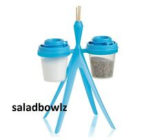 TUPPERWARE TUPPER MINIS SALT & PEPPER SHAKERS w/ CADDY Midgets in BLUE fREEsHIP!