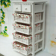 Shabby Chic White Storage Bedside Table Cabinet Units 4 Wicker Baskets 2 Drawers
