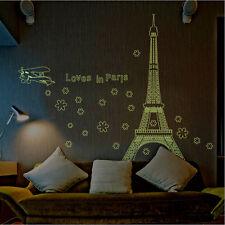 Night Fluorescent Paris Eiffel Tower Wall Sticker Mural Vinyl Decal Home Decor