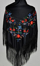 "Spanish flamenco dance black triangular shawl  multi floral embroidery 66""x39"""