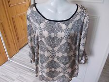 K&D LONDON BEIGE AND BLACK SILKY FEEL 3/4 TAB SLEEVE BLOUSE SIZE 18 250000637925