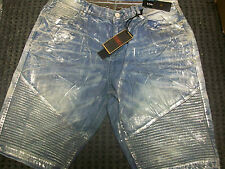 New Men's Jordan Craig Denim Jean Moto Short Aged Silver Size 38 Brand New!