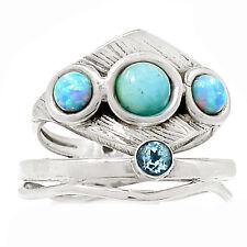 Larimar, Fire Opal & Blue Topaz 925 Sterling Silver Ring Jewelry s.7 SR213546