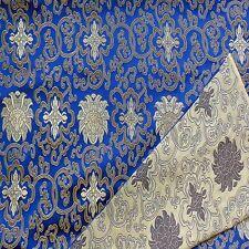 0.5 Yard Faux Silk Chinese Brocade Fabric(Royal Blue w Dark Gold Wealthy)2010