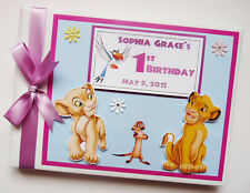 PERSONALISED LION KING SIMBA /GIRL /FIRST/1ST BIRTHDAY GUEST BOOK ANY DESIGN