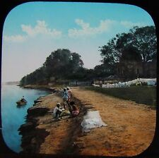 Glass Magic Lantern Slide CAWNPORE SUTTEE CHOWRA GHAT C1880 PHOTO INDIA