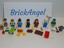 NEW LEGO Lot of 7 Mini Figures Male Female Food Skateboard Painter Mailbox