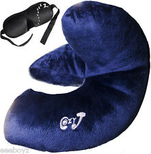 Cozy-J Best Travel Pillow supports Chin, Head and Neck + FREE Designer Eye Mask