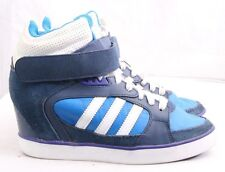 Adidas 702001 Amberlight Up Blue Suede Lace-Up Wedge Sneakers Women's U.S. 6
