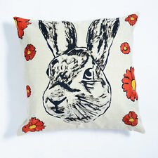 GILLIE AND MARC - authentic rabbit animal print linen cushion with insert