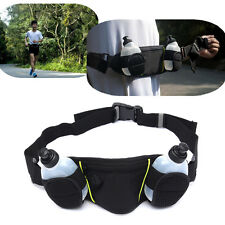 Sports Running Jogging Hiking Belt Waist Pack Pouch + 2 Water Bottle Holder Bag