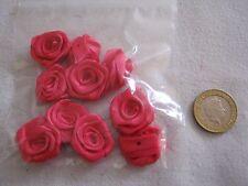 EXTRA LARGE Satin Ribbon Rose - CERISE, 30mm & !0 per pkt. FREE P&P **NEW**