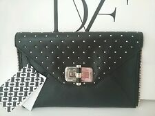 Diane von Furstenberg DVF Black Secret Agent Zip On Gold Stud Clutch Bag Gallery