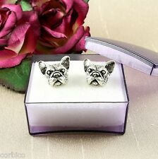 E14 Antique Silver Tone French Bulldog Pug Dog Stud Earrings - Gift Box