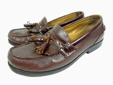 MENS TASSEL LOAFERS DOCKERS BROWN PEBBLE GRAIN LEATHER SPORT CASUAL SHOES 1