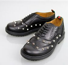 New Authentic Gucci Kids Leather Studded Lace-up Sneakers, sz 28/US 11, 297486