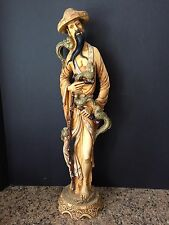 "Oriental Chinese Man Figurine Resin Statue Ivory Imitation 19"" Tall"