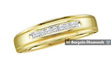 mens diamond .08 carat 10K gold wedding ring band business anniversary love