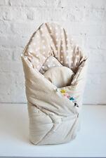 H&D 2-SEITIG BABYHÖRNCHEN gitter punkte beige Babynest Steckkissen Baumwolle ÖKO