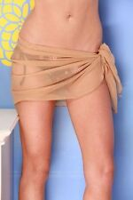 DARK BEIGE SHORT MESH SARONG PAREO Beach Cover-up Wrap Skirt ~ MADE IN U.S.A.