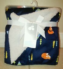 NEW Just Born Baby Blanket Soft Minky Navy Blue Foxes Racoons Gray Baby Boy NWT