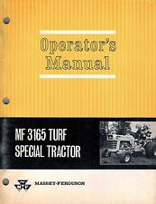 "MASSEY FERGUSON MF 3165 TURF SPECIAL TRACTOR OPERATOR'S  MANUAL ""NEW"