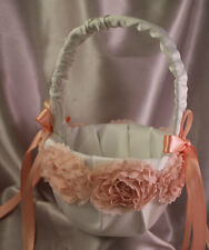 Ivory/Off White Flower Girl Basket with Peach