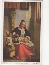 Woman Peeling Apples by de Hooch Vintage Art Postcard 371a