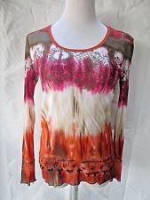Marc Aurel  Blouse Multi Color Print Sequin Long Sleeves Size 42 Large