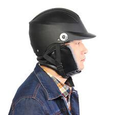 Black Motorcycle Scooter Biker Safe Half Helmet Open Face With Sun Visor
