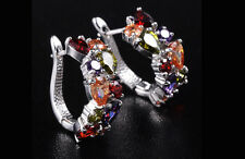 14k White Gold GF Earrings made w/ Authentic Swarovski Crystal Multicolor Stone