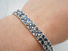 $9,999 EFFY 14k White Gold Gorgeous Blue Sapphire & Diamond Tennis Bracelet