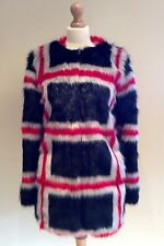 PINKO FAUX FUR COAT STYLED IN ITALY SIZE 12 UK 8 USA  IMMACULATE RED BLACK GREY