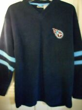 TN TITANS BLUE HEAVY PULLOVER V-NECK MED LONG SLEEVES EMBROIDER LOGO EXCELLENT