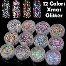 12 Colors Glitter Hexagon Shape Powder Tips Nail Art Decoration Sequins Xmas