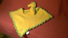 """17"""" Kashwere SEAHORSE BABY SECURITY BLANKET scalloped knit chenille plush"""