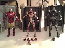 Lot of 3 Marvel Select Iron Man Figures (Mark 42, War Machine, Mark 7) w/bases