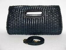 BRAHMIN Gorgeous NANTUCKET NAVY BLUE HAND WOVEN LEATHER  SHOULDER CLUTCH NWT