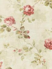Wallpaper Designer Cottage Summer Rose Vine. Red, Green, Tan, on Cream