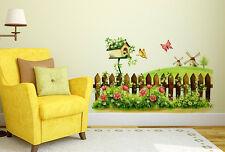 Wall Stickers Fairy Garden Bird House Flowers And Butterflies 6900081