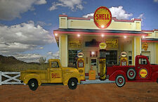 Vintage Style Shell Gas and Oil Classic Truck Gas Pump Station Garage Art Print