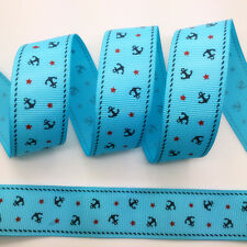NEW~ 5 Yards 1Inch 25mm Wide Printed Grosgrain Ribbon Hair Bow DIY Sewing #B116