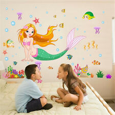 Mermaid Cartoon Kids Room Wall Stickers Mural Art Decals Decor Removable