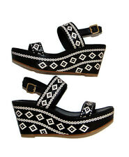 New TORY BURCH Reena Wedge Sandals, Aztec Weave, Resort, sz 10 M