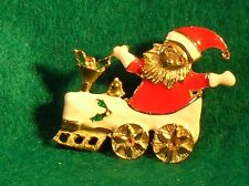 Vintage Pin Cat dressed as Santa sitting in Train Engine for Christmas Enameled