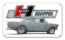 "Hurst Equipped TLB55 Vintage Metal Sign 22x12.75"" Two Lane Blacktop 1955 Gasser"